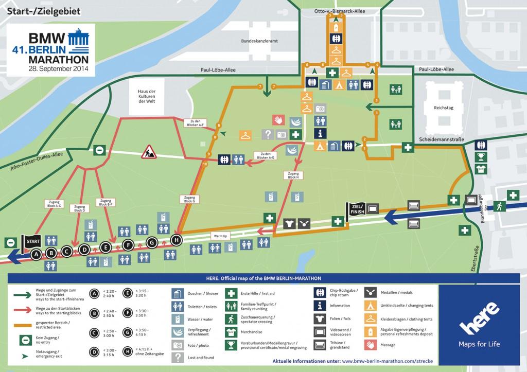 Карта стартовой зоны Берлинского марафона
